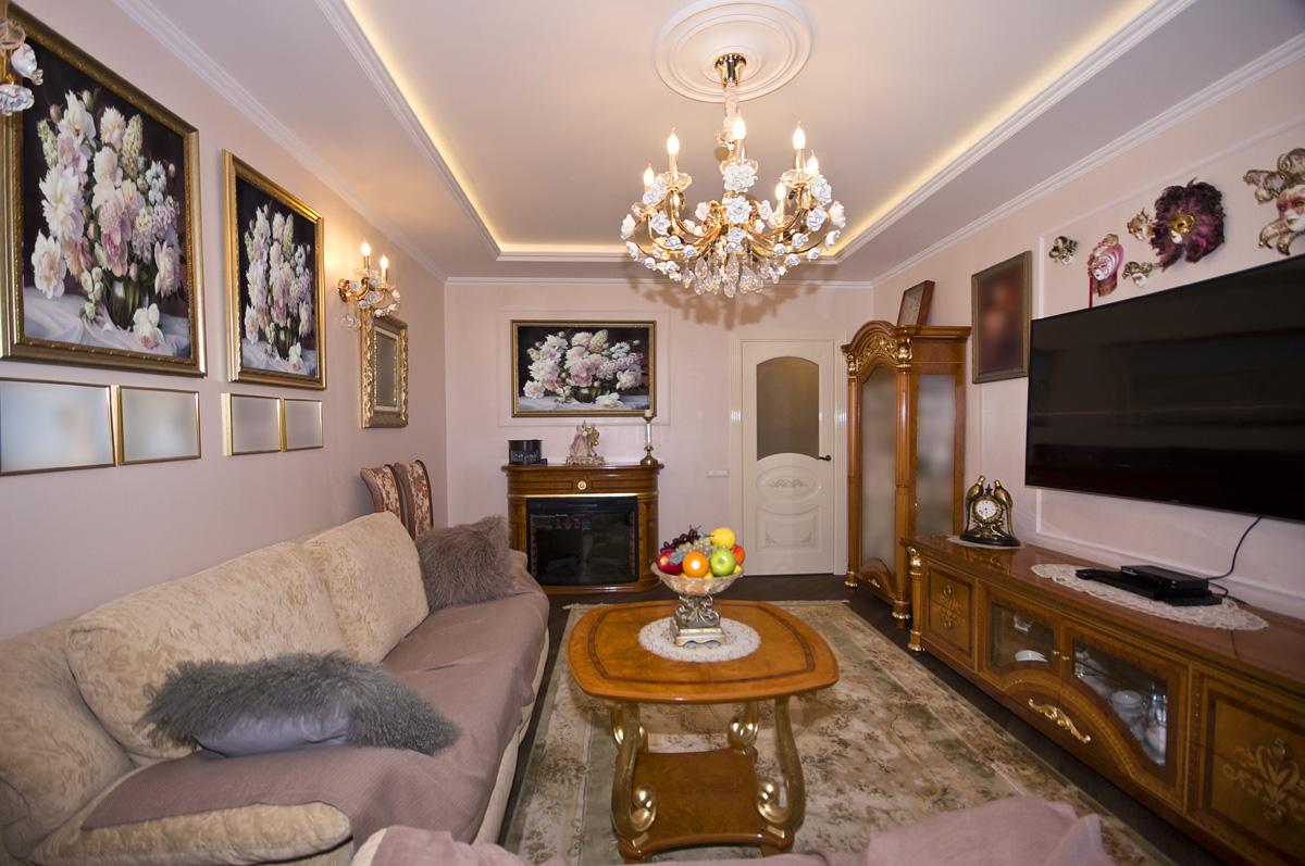 Ремонт трехкомнатной квартиры по адресу Ломоносовский просп., 5 ЖК Доминион, площадью 78 кв.м. гостиная